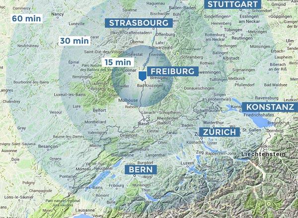Heli-Breisgau | Hubschrauber-Reichweiten ab Freiburg